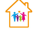 Orange outline of a house with a family inside pointing at a heart above them.