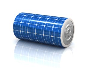 battery with solar panels on surface